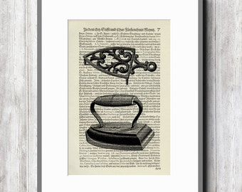 Iron vintage art print art print poster retro collage illustration book page