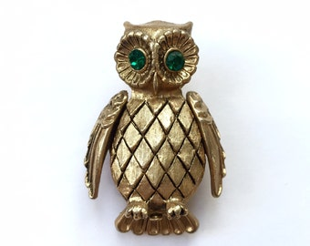 Vintage Gold Owl Brooch / Solid Perfume