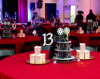Movie reel Centerpieces with Table Numbers
