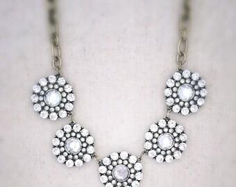 Crystal statement necklace, crystal necklace, white statement necklace, jewelry, gold statement necklace, white jewelry, trendy, jcrew