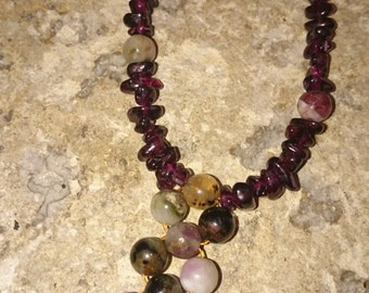Garnet and mookite necklace and earring set