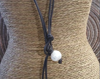 Twin drop Freshwater Pearl & Leather Necklace with front clasp