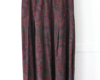 Ann Taylor Long Pleated Skirt - 100% silk paisley maroon - sz 26in