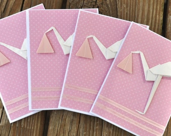 Set of 4 Baby Girl Origami Cards (Blank Inside)