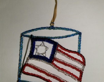 4th of July Suncatcher  Red, White and Blue Star and Stripes Home Decor