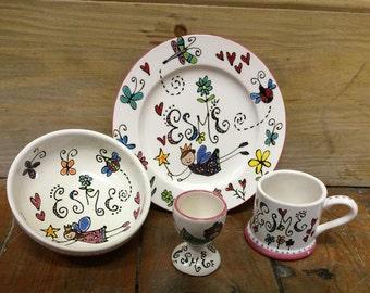 Children's hand-painted ceramic gift set
