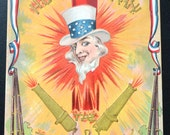 Fourth of July Postcard Uncle Sam Patriotic Postcard