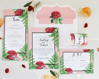 Botanical Red Rose Invitation set