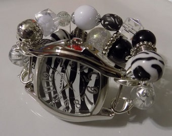 GETTING WILD...Black, White, and Zebra Acrylic Beads with Silver Accent, Clay Beads Interchangeable, Removable, Stretchy Watch Set