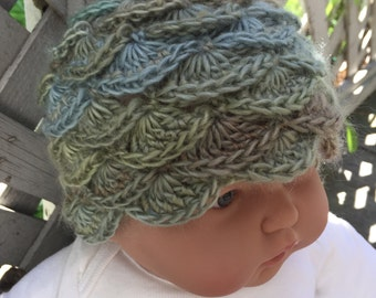 Baby Crochet Scalloped Beanie Unique Soft Blues Greens (0-6m*)