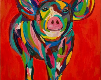 Pig Painting on a wrapped canvas