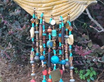 Colorful  beaded Wind Chime With Cement leaf base