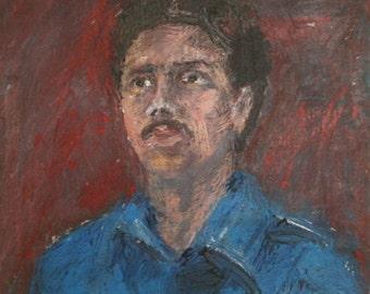 Antique oil painting man portrait