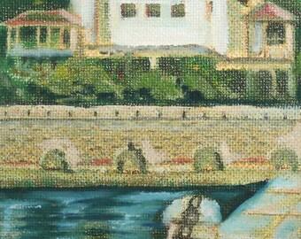 Expressionist castle landscape oil painting