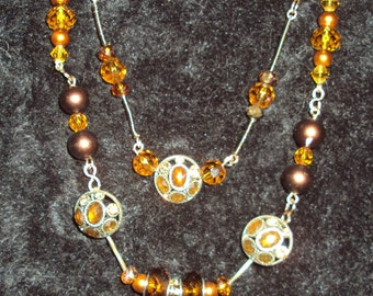 Antique Inset Amber Rhinestone Beads with Swarovski Crystal, Brown Glass Pearls, Wire Work and Glass Beads