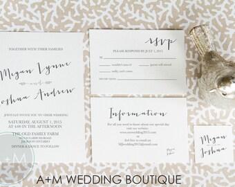 Wedding Invitation set, Boho Wedding Invitation, Printable Invitations, Elegant invitation set : CLASSIC ROMANCE