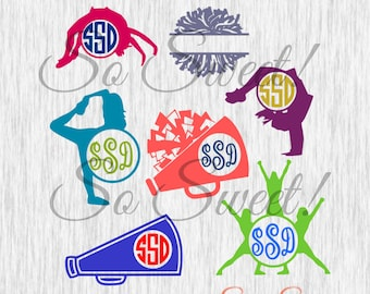 Cheer Monogram SVG / DXF Frames Cheerleading Frames for Silhouette Cutting Machines Gymnastics Megaphone Pom Poms Cheer Monogram Frame