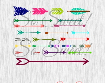 Arrow Pack SVG / DXF Variety Arrows Lot Large Small Tribal Silhouette Cut File Arrows Arrow Heads Monogram Names Shirt Decal svg dxf Files