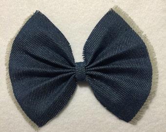 Blue Denim Hair Bow