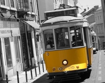 Yellow Trolley Car in Lisbon, Portugal (The 2nd of three cars)