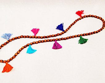 Wooden Multi Colored Tassel Necklace