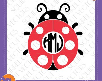 Lady Bug Monogram Frame SVG DXF EPS Cutting files