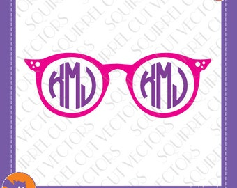 Funky Sunglasses Monogram Frame SVG DXF EPS Cutting files