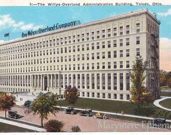 Willys-Overland Administration Building Toledo Ohio Postcard Vintage Antique
