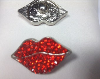 Oh My!!! 1- Red Rhinestone Lips!!! Snap Buttons- FUN
