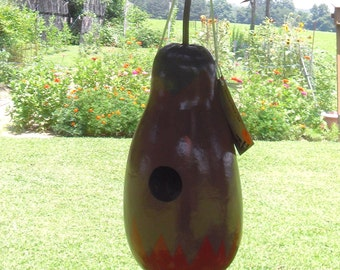 Gourd Birdhouse - Purple, red, blue