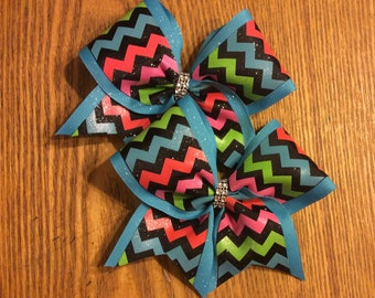 Neon Chevron print cheer bow