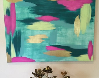 Wall Art Canvas: Turquoise/Teal/Hot Pink/Green/Gold, Abstract Painting, Acrylics on Canvas