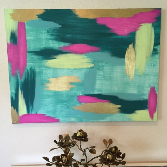 wall art canvas turquoise teal hot pink green gold abstract. Black Bedroom Furniture Sets. Home Design Ideas