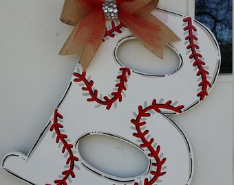 Baseball Letter door hang in any letter of your choice. Or make it Softball colored