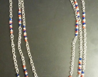 SALE! Originally 15.70  Red, White, & Blue Triple Strand Chain Necklace