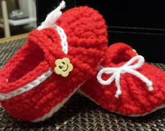 Crochet Baby Mary Jane (Red color)