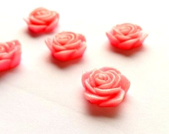 Rose cabochon x 5, Pink rose cabochon, Polymer clay cabochon, Polymer clay rose