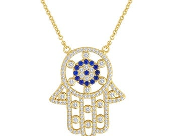 Hamsa Pendant In 14K Yellow Gold Rhodium Plated Sterling Silver