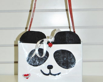 Panda Duct Tape Purse with Earrings