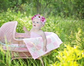 DIGITAL Background for Baby child infant newborn kid photo photography prop for photographers: Pink Wicker Bassinet
