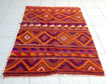 3'11'' X 5'5'' / 120 X 165 cm Wool Colorful Shaggy Rug,Long Pile Small Tulu Carpet,Moroccan Style Flokati Rug,Shag Tulu Kilim Knotted Rug