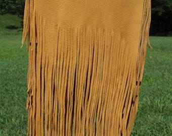 Native American Inspired, Large Fringed Deerskin Bag in Gold