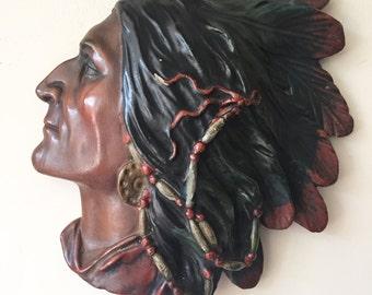 Vintage Plaster Wall Piece (Head)