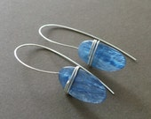 Blue Kyanite Slab Sterling Wrapped Earrings Organic Primitive Jewelry - Special