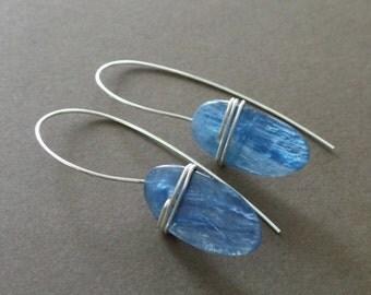 Blue Kyanite Slab Sterling Wrapped Earrings Organic Primitive Jewelry - Special