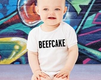 Funny BEEFCAKE Baby Bodysuit Little Tough Guy Wrestling Toddler T-Shirt Muscle Onesie Cartman TShirt Geeky Crawler Cute Creeper Romper