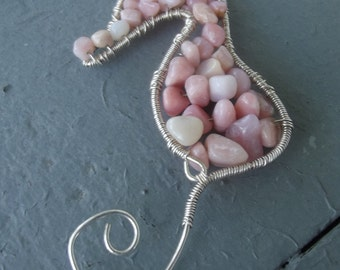 Peruvian Pink Opal Wire Wrapped Seahorse Pendant Necklace