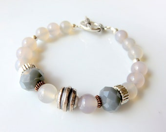 Modern Gray Agate Bracelet, Grey Boho Beaded Bracelet, Sterling Silver Gemstone Jewelry, Neutral Tone, Gray and Silver Fashion Bracelet