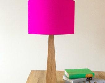Hot Pink Oak Wooden Table Lamp