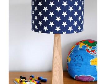 Blue Stars Wooden Oak Table Lamp